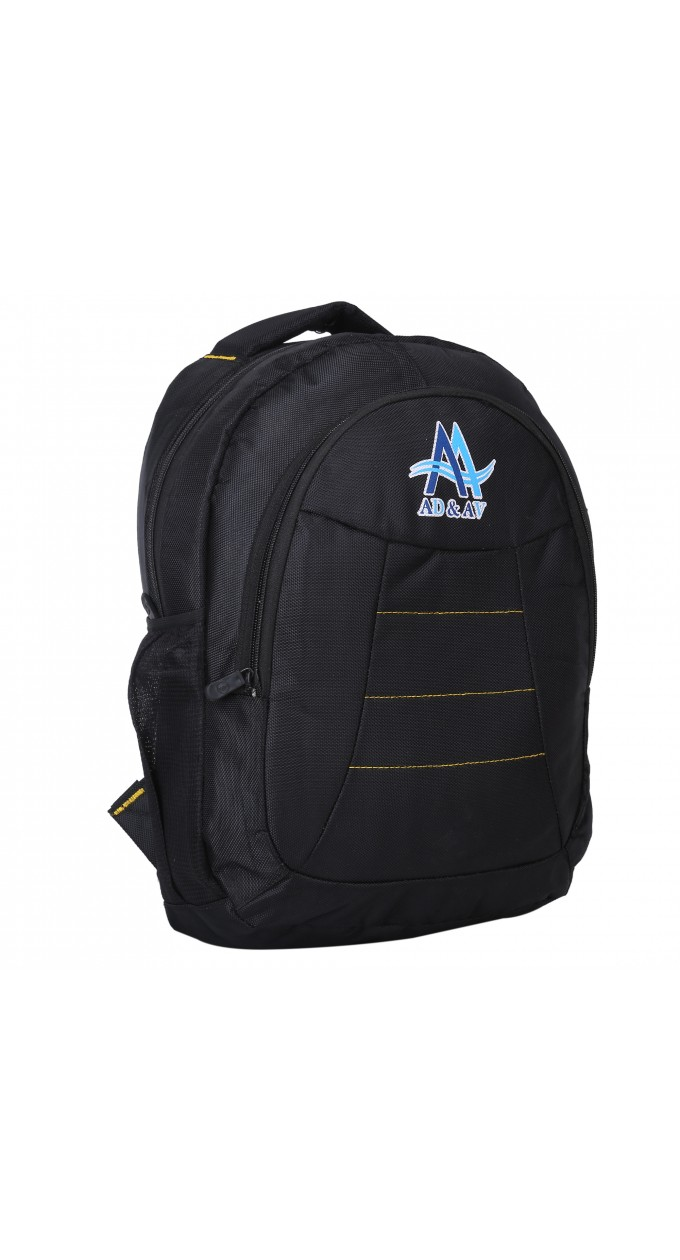 fd4eac1804 AD   AV 116 BAG PLAIN BLACK AA Waterproof School Bag (Black