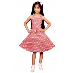 Girls Mini/Short Casual Dress  (Red, Sleeveless)