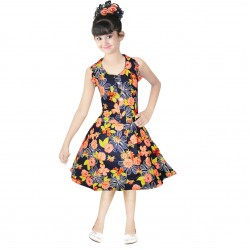Girls Mini/Short Casual Dress  (Yellow, Sleeveless)