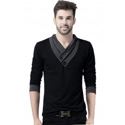 Solid Men's V-neck Black T-Shirt