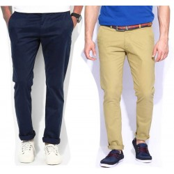 Regular Fit Men Brown, Dark Green Trousers