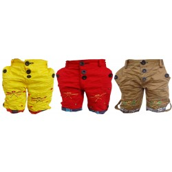 Short For Boys Casual Solid Cotton GOLDEN CARGO RED SHORTS