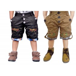 Short For Boys Casual Solid Cotton BLACK AND KHAKII SHORTS