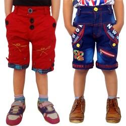 Short For Boys Casual Solid Cotton JEANS_RED_SHORTS (Multicolor, Pack of 2)