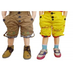 Short For Boys Casual Solid Cotton KHAKI AND YELLOW SHORTS