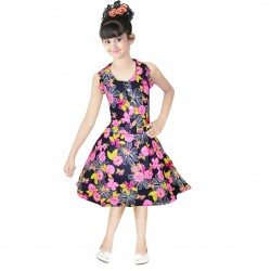 Girls Mini/Short Casual Dress  (Pink, Sleeveless)