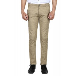 Regular Fit Men Gold Trousers