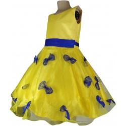 Girls Mini/Short Party Dress  (Yellow, Sleeveless)