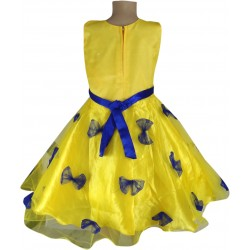 Girls Mini/Short Party Dress  (Yellow, Sleeveless)