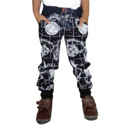 AD & AV Regular Fit Boys  BLACK PRINT JOGGERS