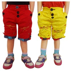 Short For Boys Casual Solid Cotton RED_YELLO_SHORTS4AA (Multicolor, Pack of 2)