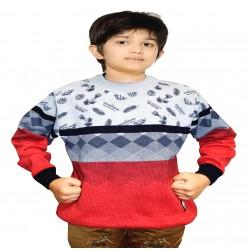 Self Design Round Neck Casual Boys Multicolor Sweater