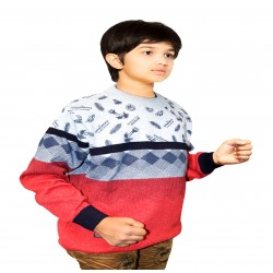 Self Design Round Neck Casual Boys Multicolor Sweater
