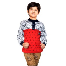 Printed Round Neck Casual Boys Multicolor Sweater