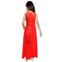 AD & AV Girls Midi/Knee Length Casual Dress RED PLAIN GOWN
