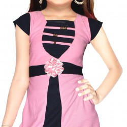 AD & AV Girls Midi/Knee Length Casual Dress PINK FROCK