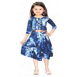 AD & AV Girls Midi/Knee Length Casual Dress BLUE DENIM FROCK