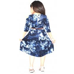 AD & AV Girls Midi/Knee Length Casual Dress FROCK BLUE PATTI