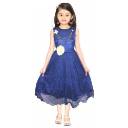 AD & AV Girls Midi/Knee Length Casual Dress BLUE SPARKEL