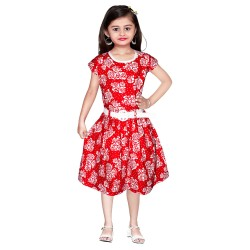 Girls Mini/Short Casual Dress  (Red, Cap Sleeve)