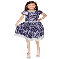 Girls Mini/Short Casual Dress  (Blue, Cap Sleeve)