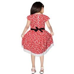 Girls Mini/Short Casual Dress  (Red, Cap Sleeve)