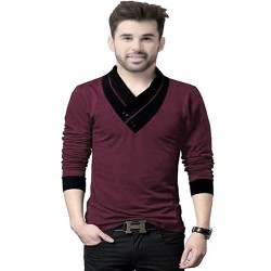 Solid Men's V-neck Maroon T-Shirt
