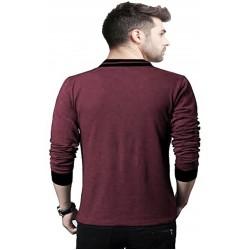 Solid Men's V-neck Maroon T-Shirt
