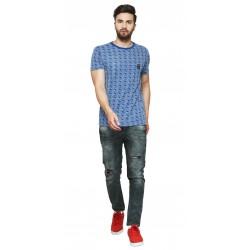 Printed Men's Round Neck Blue T-Shirt