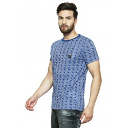 Printed Men's Round Neck Blue T-Shirt