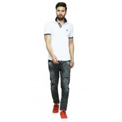 Solid Men's Polo Neck White T-Shirt