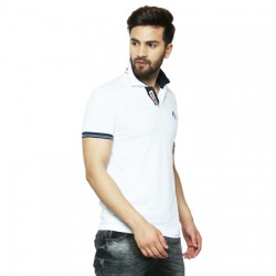 Solid Men's Polo Neck White T-Shirt