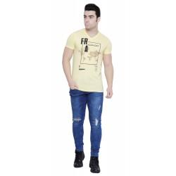 Printed Men V-neck Yellow T-Shirt