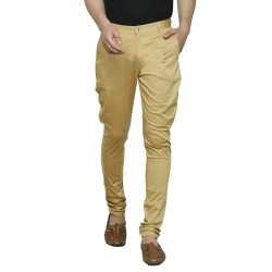 Slim Fit Men Gold Trousers
