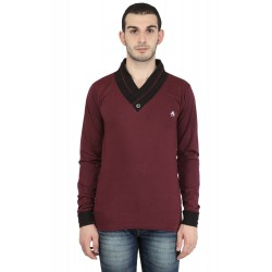 Solid Men V-neck Maroon T-Shirt