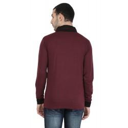 Solid Men V-neck Maroon T-Shirt