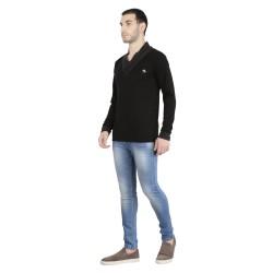 Solid Men's V-neck Black T-Shirt