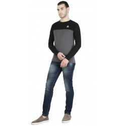 Color block Men Round Neck Grey T-Shirt