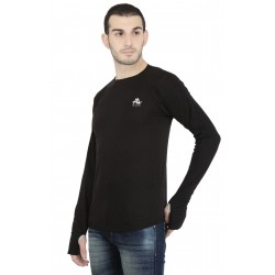 Solid Men's Round Neck Black T-Shirt