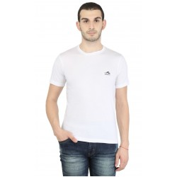 Solid Men's Round Neck White T-Shirt