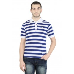 Broad Stripes Men Polo Neck Blue T-Shirt