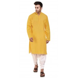 Men   YELLOW PLAIN_DHOTI