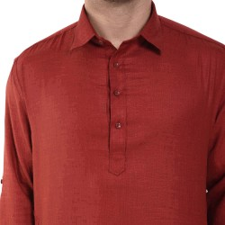 Men    SLUB RED PATHANI