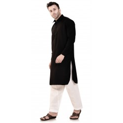 Men  PLAIN BLACK PATHANI