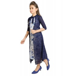 Girls Mini/Short Casual Dress  (Blue, 3/4 Sleeve)