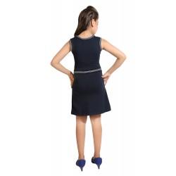 Girls Mini/Short Casual Dress  (Blue, Sleeveless)