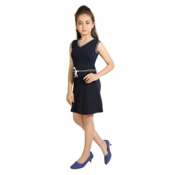 Girls Mini/Short Casual Dress  (Blue, Sleeveless)