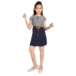 Girls Mini/Short Casual Dress  (Dark Blue, Cap Sleeve)