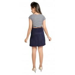 Girls Mini/Short Casual Dress  (Dark Blue, Cap Sleeve)