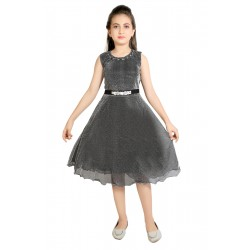 Girls Midi/Knee Length Party Dress  (Black, Sleeveless)
